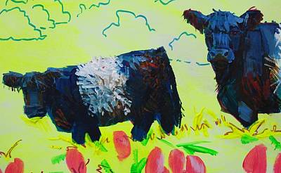 Painting - Two Belted Galloway Cows Looking At You by Mike Jory