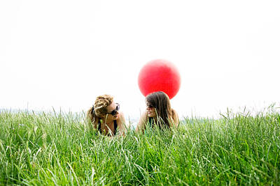 Nirvana - Two best girl friends laying on the grass by Newnow Photography By Vera Cepic