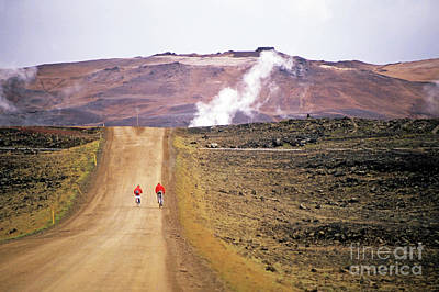 Two Bikers On A Dirt Road Leading To A Geothermal Power Station At Myvatn Art Print by Sami Sarkis