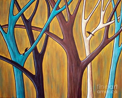 Primitive Folk Art Painting - Two Birds And Five Trees by Karla Gerard