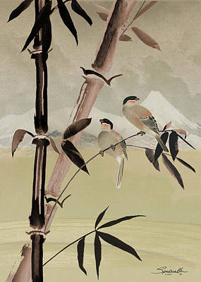 Digital Art - Two Birds In Bamboo Tree by IM Spadecaller