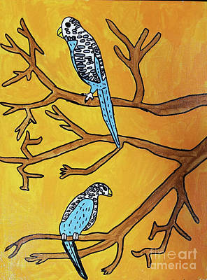 Painting - Two Birds On Branch by Brandon Drucker