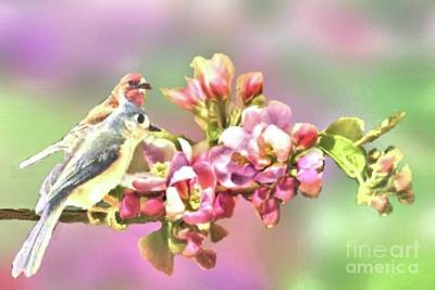 Photograph - House Finch And Titmouse Sharing A Flower Branch by Janette Boyd