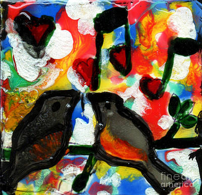Painting - Two Birds With Music Hearts by Genevieve Esson