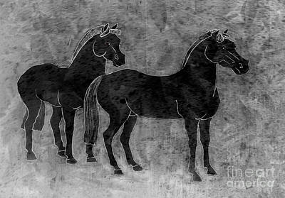 Drawing - Two Black Chinese Horses by Nareeta Martin