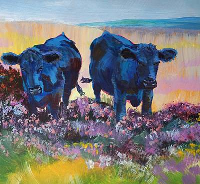 Painting - Two Black Cows On Dartmoor by Mike Jory