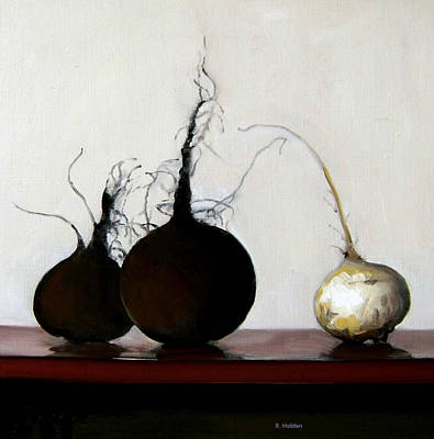 Painting - Two Black Radishes And A White Turnip by Robert Holden