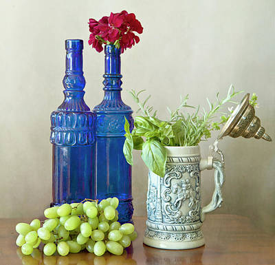 Tankard Digital Art - Two Blue Bottles, Grapes And Herbs by Luisa Vallon Fumi