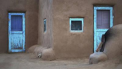Photograph - Two Blue - Taos Pueblo by Nadalyn Larsen
