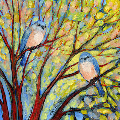 Red Tree Painting - Two Bluebirds by Jennifer Lommers