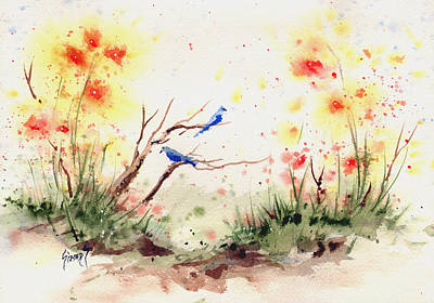 Painting - Two Bluebirds by Sam Sidders