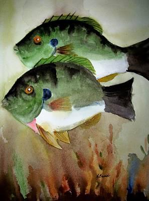 Two Bluegills Art Print by Audrey Bunchkowski