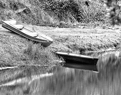 Photograph - Two Boats And A Bench 1024 Bw by Jerry Sodorff