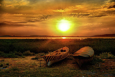 Photograph - Two Boats And Sunset by Lilia D