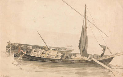 Drawing - Two Boats At Anchor by Paul Sandby