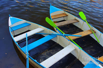 Oars Photograph - Two Boats by Carlos Caetano
