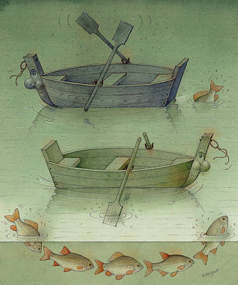 Painting - Two Boats by Kestutis Kasparavicius