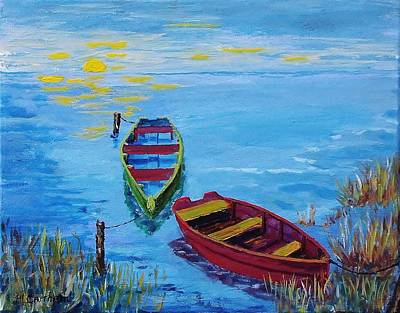 Painting - Two Boats by Mike Caitham
