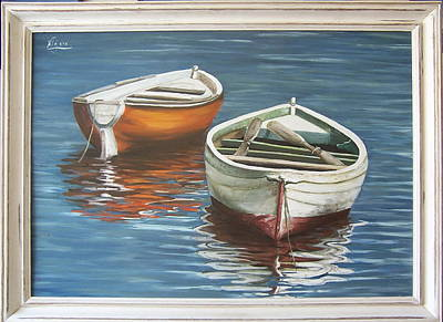 Art Print featuring the painting Two Boats by Natalia Tejera