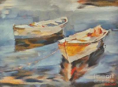 Two Boats On A Mooring Art Print by Dragica  Micki Fortuna