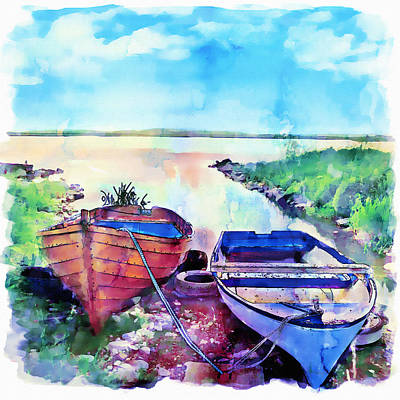 Sky Blue Mixed Media - Two Boats On A Shore by Marian Voicu