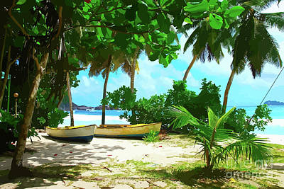 Two Boats On Tropical Beach Art Print