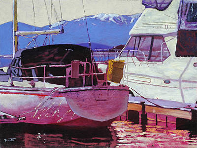 Schweitzer Mountain Painting - Two Boats by Robert Bissett