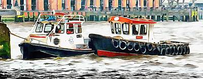 Photograph - Two Boats Tied Up On The River Thames London by Dorothy Berry-Lound