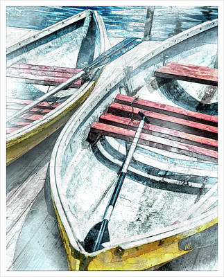 Row Mixed Media - Two Boats To Coconut Cove by Melissa Smith