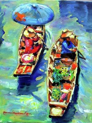 Painting - Two Boats by Wanvisa Klawklean