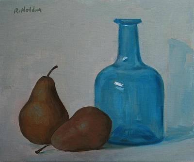 Painting - Two Bosc Pears And A Blue Bottle by Robert Holden