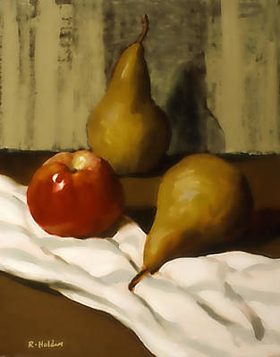 Painting - Two Bosc Pears And A Very Red Apple by Robert Holden