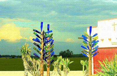 Photograph - Three Bottle Trees by Janette Boyd