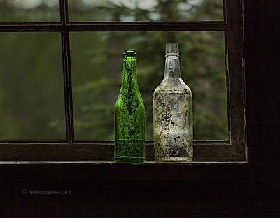 Photograph - Two Bottles In Window by Fred Denner