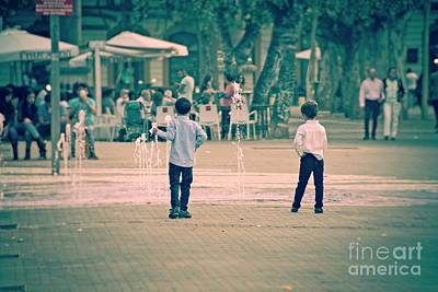 Photograph - Two Boys And A Fountain - Seville by Mary Machare