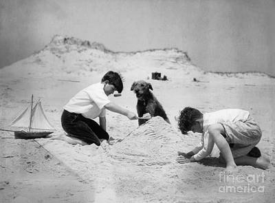 Two Boys And Dog Playing On Beach Art Print