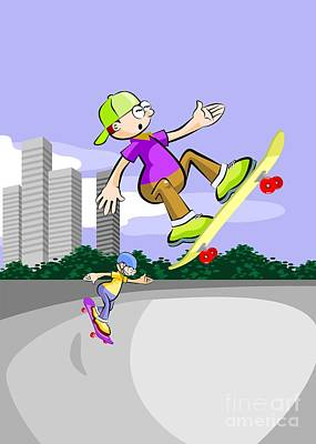 Skate Digital Art - Two Boys Fly And Have Fun With Their Skateboards On The Skating Rink by Daniel Ghioldi