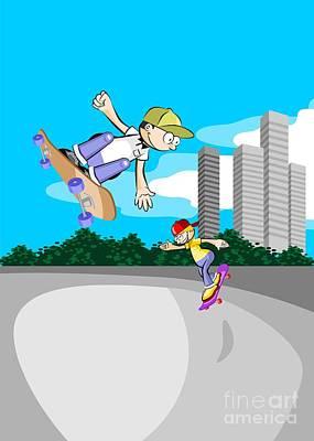 Skates Digital Art - Two Boys Having Fun In The Skate Park With Their Skateboards by Daniel Ghioldi