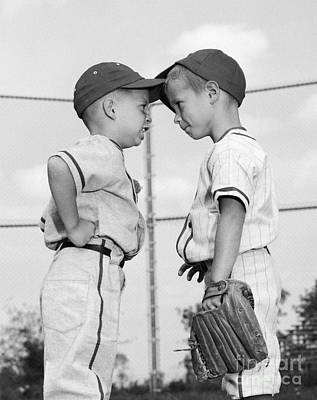 Two Boys Playing Baseball Arguing Art Print