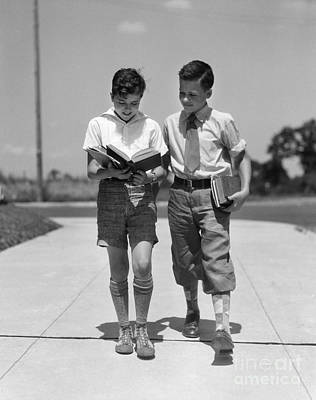 Two Boys Walking To School Reading Print by H. Armstrong Roberts/ClassicStock