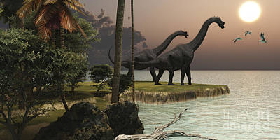Prehistoric Era Digital Art - Two Brachiosaurus Dinosaurs Enjoy by Corey Ford