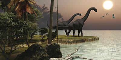 Two Brachiosaurus Dinosaurs Enjoy Print by Corey Ford
