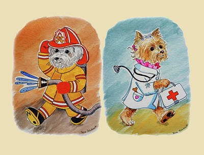 Painting - Two Brave Dogs Watercolor For Baby Room by Irina Sztukowski