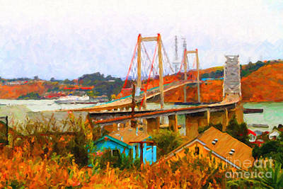 Bay Area Digital Art - Two Bridges In The Backyard by Wingsdomain Art and Photography