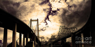 Two Bridges One Moon Print by Wingsdomain Art and Photography