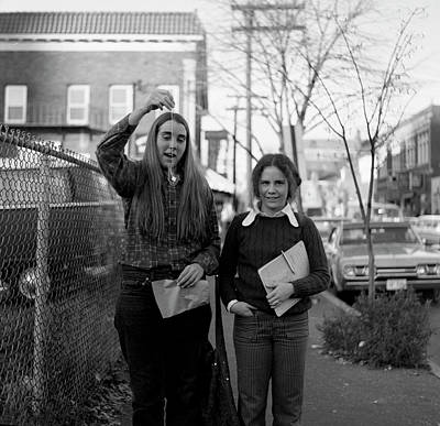 Photograph - Two Brown Students, Thayer Street, Providence, 1972 by Jeremy Butler