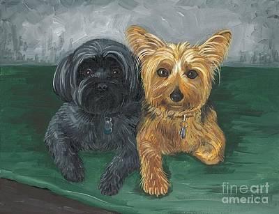 Barking Painting - Two Buddies by Margaryta Yermolayeva