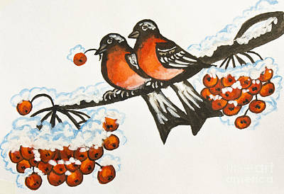 Painting - Two Bullfinches, Painting by Irina Afonskaya