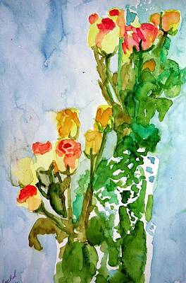 Painting - Two Bunches Of Roses by Rachel Rose