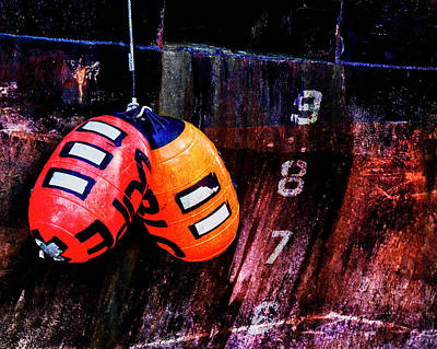 Mixed Media - Two Buoys Left Of Depth by Carol Leigh